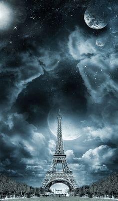 Paisajes animados con la Torre Eiffel.