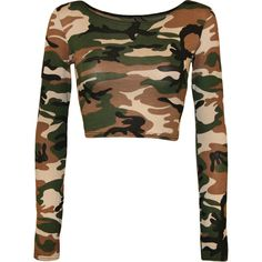 Selena Camo Print Crop Top ($11) ❤ liked on Polyvore featuring tops, crop tops, camouflage, white tops, bodycon crop top, bodycon top, white scoop neck top and camouflage tops