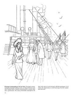 Passengers promenading on the boat deck
