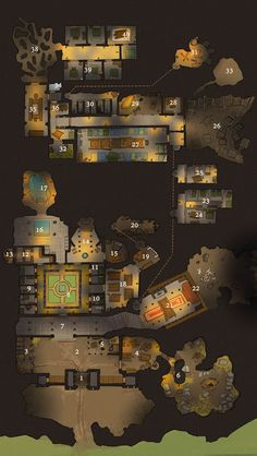 Dwarven mining outpost maybe or similar? Pathfinder Maps, Fantasy World Map, Rpg Map, Dnd 5e Homebrew, Dungeon Maps, Modelos 3d, Modern Mansion, Fantasy Setting, Tabletop Rpg