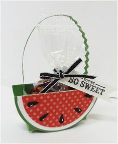 Such an adorable little watermelon basket from Connie Babbert.  I think this will make a cute door prize for my Canal Street stamp classes.