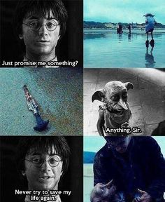 Harry Potter and Dobby. Saddest part of Harry Potter. Harry Potter Tumblr, La Saga Harry Potter, Harry Potter Jokes, Harry Potter Fandom, Hogwarts, Harry Potter Triste, Fans D'harry Potter, Potter Facts, Severus Rogue