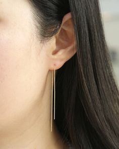 Hair Wrap Discover Solid Gold Threader Earrings Long Threader Earrings Ear Threads very dainty earrings delicate earrings Minimalist Earrings Prom Earrings, Prom Jewelry, Dainty Earrings, Simple Earrings, Gold Hoop Earrings, Crystal Earrings, Gold Jewelry, Fine Jewelry, Hanging Earrings