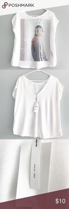 "ZARA ""True Style Never Fades"" Shirt. Light and airy ZARA top. ""True Style Never Fades"" is printed on the front. Never worn. No damage. Tags still attached. Deep V-neck in the back. Size M.            ✖️NO TRADE.                                                            ✖️NO low balling, please be respectful of my closet and my prices, all reasonable offers are considered. Zara Tops Tees - Short Sleeve"