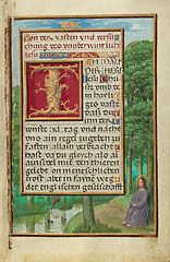 Border with Christ in the Wilderness (Getty Museum) - peaceful setting of Jesus in meditative prayer 1525-30
