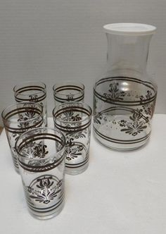 VTG 1980s Libbey Pfaltzgraff Village Brown on Cream Juice Carafe Glassware Set