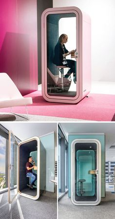 Framery a Finnish technology startup designs and manufactures stylish soundproof phone booths and meeting pods for open-plan offices. Open Office Design, Office Interior Design, Office Interiors, Open Space Office, Office Pods, Co Working, Coworking Space, Sound Proofing, Booth Design