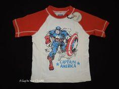 2 2T Baby Gap NWT Captain America Junk Food Rash guard swim shirt superhero