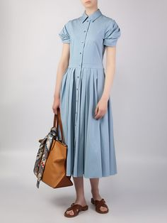 Платье на пуговицах от MICHAEL KORS за 66 010 рублей со скидкой 30% (цвет: голубой) - купить в интернет-магазине –VipAvenue.ru