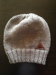 c063a3248a4 Gray beanie with leather patch