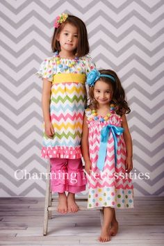 Girls Chevron Peasant Dress with Ruffles in Candy Coated Spring Easter. $40.00, via Etsy. I could make this...