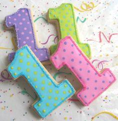 """1"" Cookies!!! Bebe'!!! Love these Birthday Party Cookies!!!"