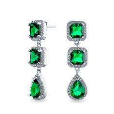 Emerald Earrings, Bridal Earrings, Statement Earrings, Women's Earrings, Green Earrings, Cubic Zirconia Earrings, Teardrop Earrings, Bling Jewelry, Jewelry Gifts