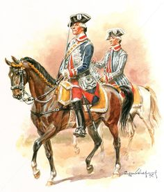 AWI- France: French; Maison du Roi, Garde du Corps, 3rd Company, Officer & Trumpeter, 1788, by Eugène Leliepvre.