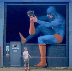 """Andreas Englund with his work """"Pebbles"""" in Rochester, New York, 2015"""