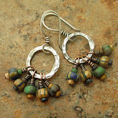 Hammered Silver Hopps African Trade Beads Tribal Dangle Earrings.
