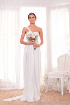 One Shoulder Maternity Wedding Gown