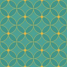 Shippou – sieben Schätze, Der Begriff Shippou, die sieben Schätze, stammt aus dem Buddhismus. Die Kreise, die sich überlappen bzw. miteinander verbinden, symbolisieren Vollkommenheit. Mit diesem einfachen Muster können Sie Räume dezent und geschmackvoll gestalten. Tapete Shippou groovy green