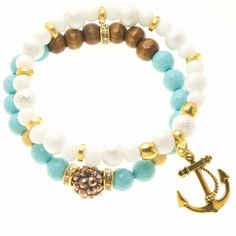 White and Gold Charmed Stacking Bracelet by AriHannaJewelry This would match the necklace I bought from DSP the Studio!