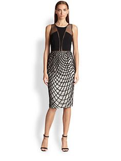 Noir Sachin & Babi Khloe Dress.  I like the geometric line patterned skirt of the dress.