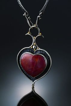 Heart ruby pendant - Amy Buettner Metalsmith - USUALLY I DON'T LIKE 'heart jewellery!!) - THIS PIECE IS INCREDIBLY BEAUTIFUL!!