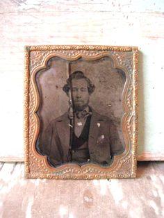 Civil war era AMBROTYPE. Bearded man. No case. Vintage, victorian. by MysteryMisterAntique on Etsy