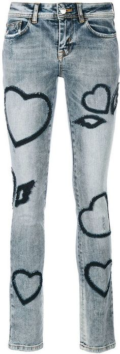 Iceberg heart patch denim jeans