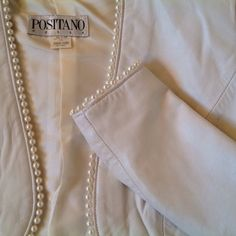 Leather and Pearls  White leather bolero jacket. Gently worn. Pearls all around whole jacket and sleeves. Surprise with purchase Positano Jackets & Coats
