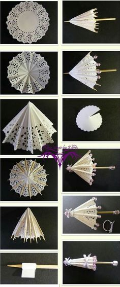 Everything used to make these can be bought at a dollar store. Small paper doilies, wood skewers, thin ribbon and some beads.
