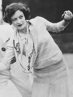 Joan Crawford on the tennis court, 1928