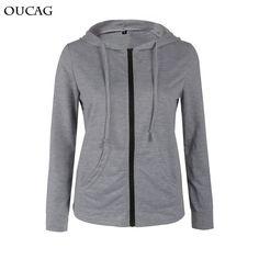 OUCAG Women Hoodies Sweatshirt 2017 Fashion Autumn Winter Long Sleeve Zipper Hooded Sudaderas Mujer Warm Tracksuit Zip Jacket #Brand #OUCAG #sweaters #women_clothing #stylish_dresses #style #fashion