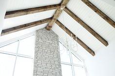 Bar wood faux beams that were mitered together Faux Ceiling Beams, Faux Beams, Plank Ceiling, Wood Beams, Woodland Living Room, Craftsman Columns, Reno, Great Rooms, Beautiful Homes