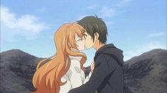 Kouko x Banri kiss Gif - Golden Time Aww that's cute Golden Time Anime, Anime Trap, Anime Bleach, Anime Tumblr, Nisekoi, Another Anime, Darling In The Franxx, Cute Anime Couples, All Anime