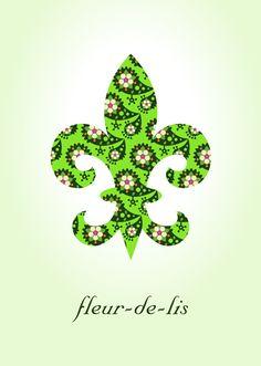 Paisley Fleur de Lis Art Print   Green   $12.50