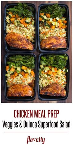 Spice crusted chicken meal prep with quinoa salad and roasted brocollini, butter. - Spice crusted chicken meal prep with quinoa salad and roasted brocollini, butternut squash and zucc - Lunch Meal Prep, Meal Prep Bowls, Easy Meal Prep, Easy Meals, Healthy Menu, Healthy Meal Prep, Healthy Recipes, Chicken Meal Prep, Easy Chicken Recipes