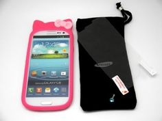 """Buy """"Pink"""" - Kitty Style Bow Soft Silicone Case Cover For Samsung Galaxy S3 (Samsung Galaxy SIII / S III) i9300 NEW for 4.5 USD   Reusell"""