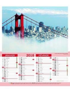 Calendrier bloc agrafés SITES DU MONDE 2018