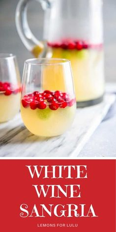 This cool and fruity sangria recipe is fun and refreshing! You can use any seasonal fruit to flavor this cocktail recipe and you can serve it all year long! Make a big pitcher full so you can share with friends! For more cocktail recipes, visit lemonsforlulu.com