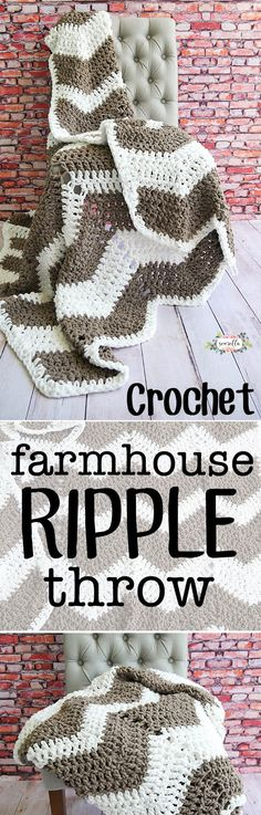 Learn to crochet this easy farmhouse ripple throw blanket afghan with just double crochet! Beginner friendly and a quick weekend project - written and video tutorial included!