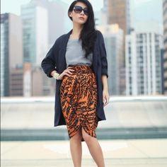 Zara woman draped skirt Lovely satiny drape front skirt. Orange with black fern print. Gathered waist. Zara Skirts