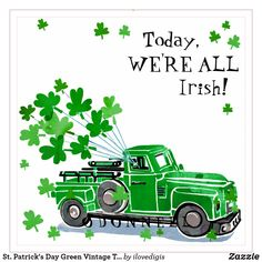 Patrick's Day Green Vintage Truck Add Name Napkins created by ilovedigis.