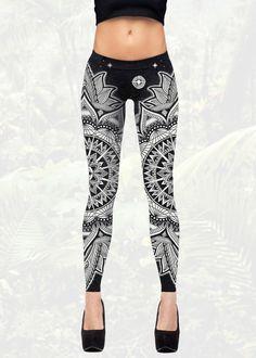 Cosmic Mandala Leggings | Women's Black And White Yoga Pants | Tights by KorvinKustoms on Etsy https://www.etsy.com/listing/244809035/cosmic-mandala-leggings-womens-black-and