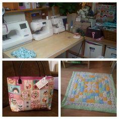 Mein Nähplatz :-) Tasche und eine Babykrabbeldecke