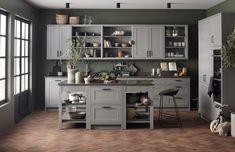 Petra-keittiöt Willa Sandra Rustic Kitchen, Vintage Kitchen, Open Shelving, Shelves, Modern Rustic, Home Kitchens, Kitchen Design, Scale, New Homes