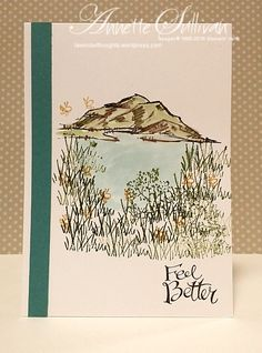Here is a clean and simple, almost one layer card using In the Meadow stamp set from the Occasions Catalogue. It is my entry for this month's livelovecards.com challenge which is to create a …