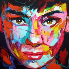 Lana: Go Ahead Keilrahmen-Bild Leinwand Frau Mädchen Portrait Pop bunt Oil Painting On Canvas, Painting Prints, Canvas Prints, Knife Painting, Acrylic Face Painting, Arte Pop, L'art Du Portrait, Face Painting Designs, Contemporary Artwork