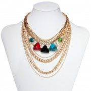 Multilayered Statement Necklace Multicolor