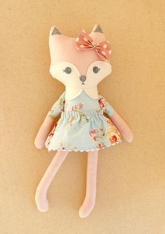 Custom listing for Darlene: These are handmade cloth dolls measuring 20 inches and 10 inches. The larger, pink fox doll is dress in a sweet, classic, blue floral dress with a matching, removable skirt. Her forehead is accented with a pink polka dotted fabric bow. The smaller, mini doll