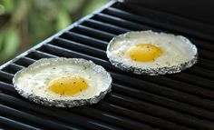 How to fry eggs on a grill - Keep the kitchen cool by preparing fried eggs on the barbecue in individual mini foil trays. It's a fun presentation and cleanup is easy!