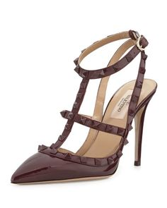 Rockstud Patent Pump Sandal, Wine, How would you style these? http://keep.com/rockstud-patent-pump-sandal-wine-by-irinabond/k/06d3zNABLb/